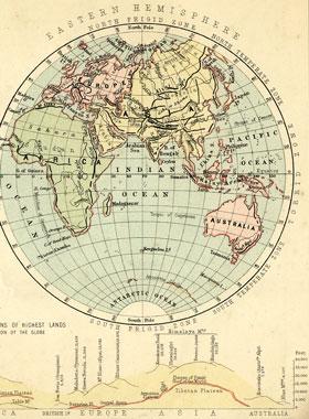 19th century eastern hemisphere map