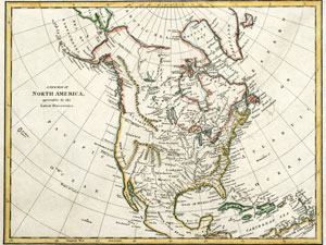 historic map of north america - published 1791