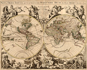 map of the world - published 1694